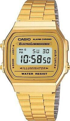 Casio Gold A168WG-9 Digital Alarm Unisex Watch A168 / A168WG Eliminator Light
