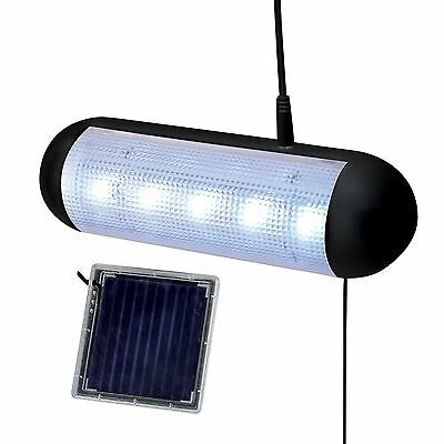 New 5 Led Solar Powered Rechargeable Garden Path Wall Garage Shed Light