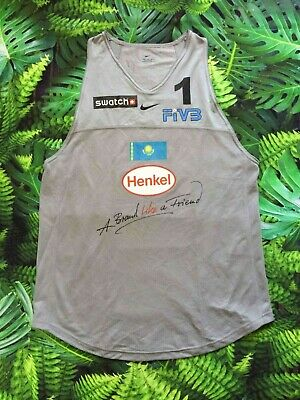KAZAKHSTAN Jersey Maillot Porté Worn FIVB Volleyball #1 Nike Training Warm Up