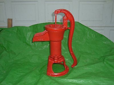 yard art vtg cast iron hand water well pump raised lettering red jacket pump