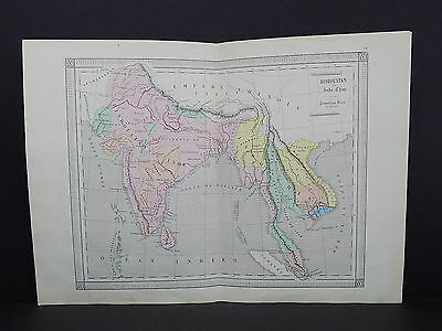 Antique Maps, French Atlas, c. 1870, Hand Color, India, Indochina, S34