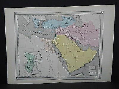 Antique Maps, French Atlas, c. 1870, Hand Color, Arabia, Sacred History S6