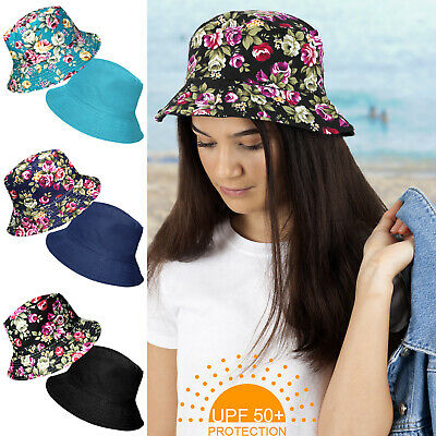 Upf 50+ Protection Ladies Reversible Floral Cotton Bucket Beach Sun Hat Holiday