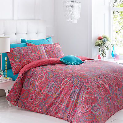 Paisley Coral Duvet Cover Bedding Quilt Bed Set & Pillowcases Single Double King