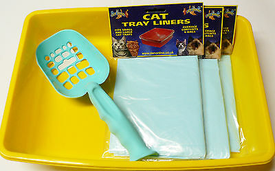 Cat Litter Tray With Scoop And 18 Tray Liners Toilet Set Kitten Puppy Cat Toilet