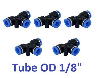 """Tee Union Pneumatic Push In To Connect Fitting Tube OD 1/8"""" Quick Release 5pcs"""