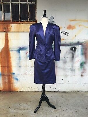 vtg Begedor METALLIC PURPLE LEATHER SUIT jacket & skirt made in Italy S