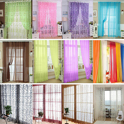 Flower Floral Tulle Voile Window Curtain Drape Panel Sheer Scarf Valances BO