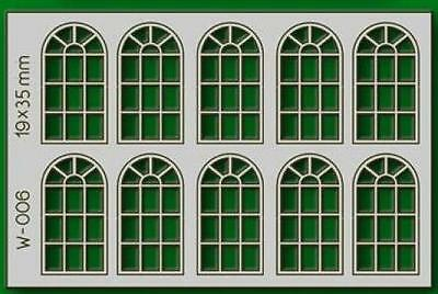 Proses W-006 NEW 10 PCS 19X35MM 14 PANE ARCHED WINDOWS HO/OO