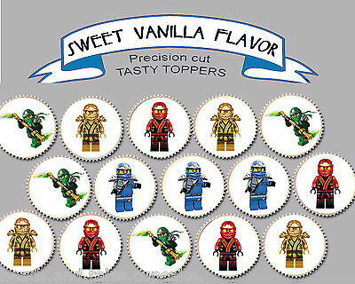 Lego Ninjago Birthday Party EDIBLE Wafer cupcake cake Toppers PRECUT Cup Cake