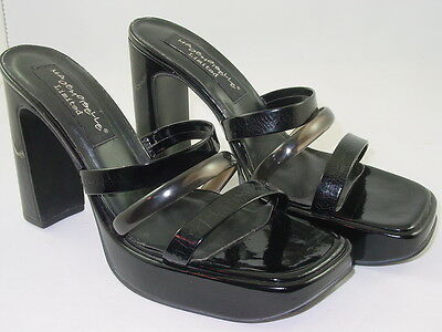 Black Patent 10 B New Vegan Strappy Mules Sandals Goth Drag CD TG ComCon Exotic