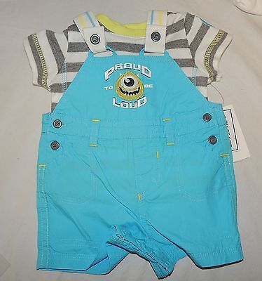 NEW Baby Disney Monsters Inc Mike Outfit, Shirt Overalls Size Newborn & 3-6 M