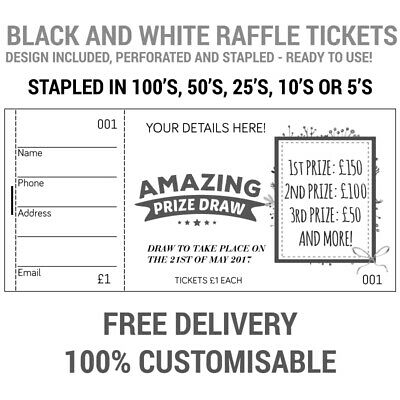 1000 Printed Personalised Raffle Prize Draw Tickets