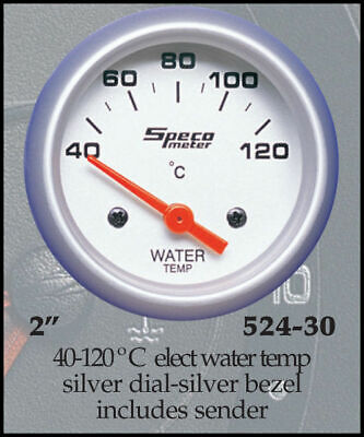"Speco Meter Automotive Gauge Electric Water Temp 2"" Silver #S524-30"