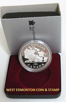1981 Proof Silver Dollar - Royal Canadian Mint Issue - Trans-Canada Railway