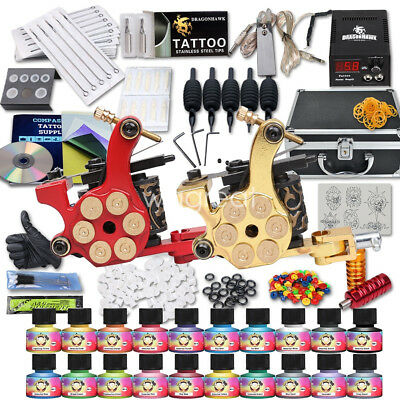 Tätowierung Komplett Tattoo Kit Set 2 Tattoomaschines 20 DE color inks HW-10WD
