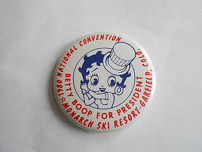 Vintage 1980 Betty Boop for President Monarch Ski Resort Garfield CO Pinback