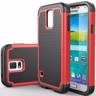 Fits Samsung Galaxy S5 Neo Case Rugged Shockproof Hybrid Impact Cover - Red
