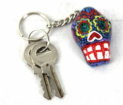 Key ring Day Of The Dead Hand painted Kitsch Keychain Made In Latin America