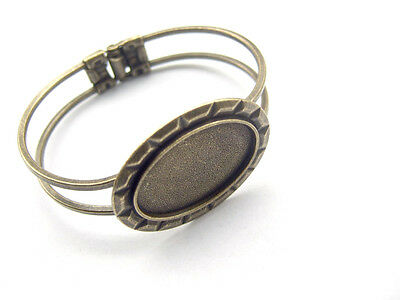 Antique Bronze Brass Cuff Bangle Bracelet Blanks 20x30mm Oval Cabochon Settings