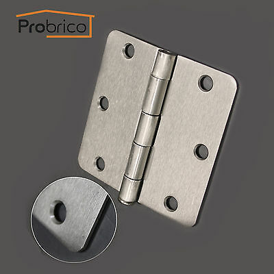 "Brushed Satin Nickel 3.5*3.5"" With 1/4"" Radius Corner Door Hinges Interior Round"