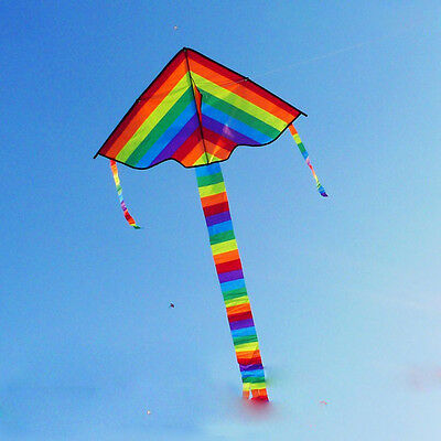 Rainbow Color Triangle Kite Outdoor Children Fun Sports Kids Toys Gift Air Fly
