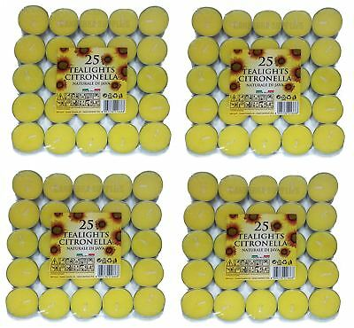 100 x PRICES CANDLES TEALIGHTS CITRONELLA FRAGRANCED GARDEN
