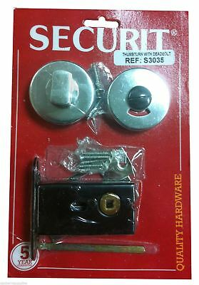 Securit S3035 Aluminium Thumb Turn With Deadbolt - Bathroom Cubical Door Lock