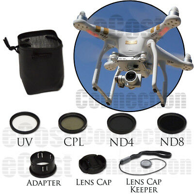 37MM Filter Kit For DJI Phantom 3 Series Drones. CPL, ND4, ND8, UV, Lens Cap