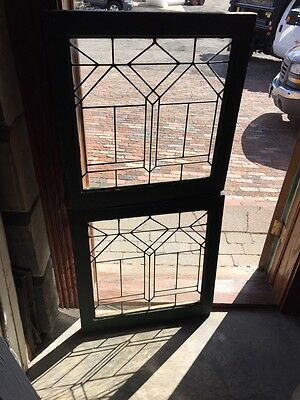 "Sg688 Two Available Price Separate Leaded Glass Windows Antique 24.25 X 25"" High"