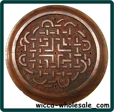 Wooden Celtic Knot Incense Sticks Burner Holder WICCA - Tile - Altar