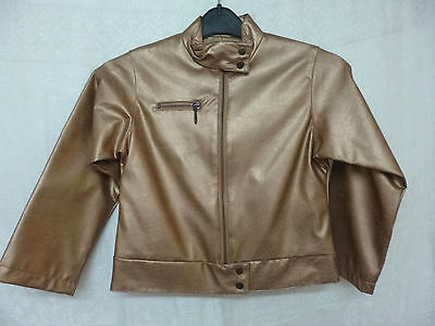 Girls Gold Faux Leather PVC Jacket Age 6 Years