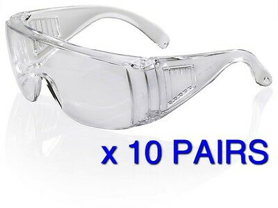 BUY 10 X Visitor Safety Spectacles Glasses Overspecs Coverspec Clear Lens EN166