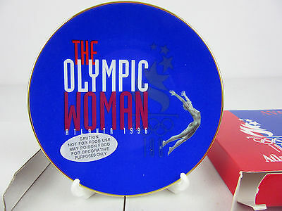 1996 Olympic Woman Avon Commemorative Plate 22K Gold Trim New in Box
