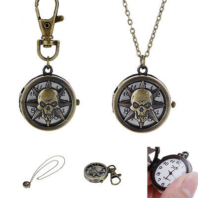 Retro Style Bronze Hollow Skull Quartz Necklace Pendant Chain  Pocket Watch