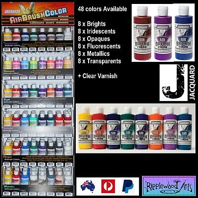 Jacquard Airbrush Paints (48 Colors + Extender + Varnish) + Flat Rate Postage