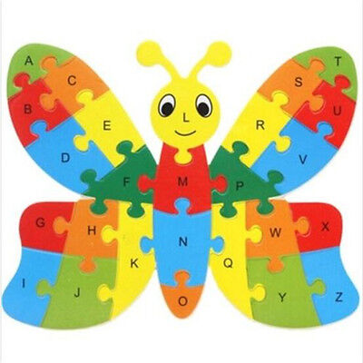 FD3451 Wooden Blocks Kid Child Educational Alphabet Puzzle Jigsaw Toy~Butterfly♫