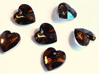 PACK OF 6 HEART SHAPED FACETED GLASS PENDANTS - SMOKEY BROWN - 14mm.......P817 *