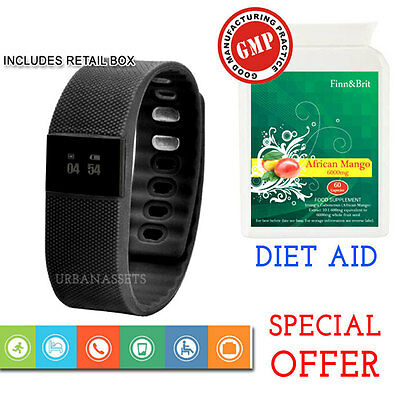 Bluetooth Smart Watch Bracelet Wristband Fitness Health Monitor + African Mango