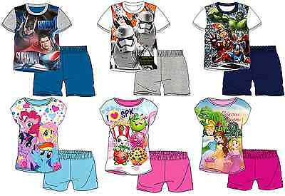 Boys Girls Official Short Sleeve T Shirt & Shorts Pyjamas PJs Age 3 - 10 Years