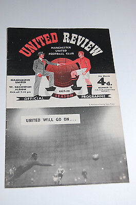 MANCHESTER UNITED v West Brom REVIEW Programme FA CUP REPLAY 1958 MUNICH SEASON