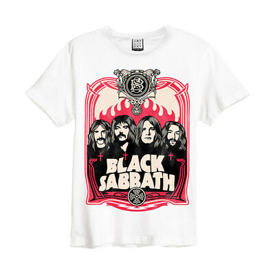 Black Sabbath 'Flame' T-Shirt (White) - Amplified Clothing - NEW & OFFICIAL!