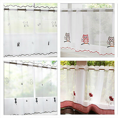 Voile / Net Cafe Curtain Panel In Dog, Owl, Cat, Poppy, Rooster, Seaside