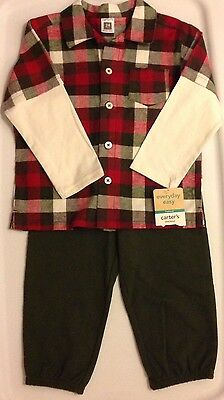 NEW Boys Carters Layered Look Red And Green Flannel Shirt And Knit Pants 24 M
