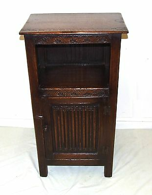 Carved Oak Pot Cupboard Lamp Stand Magazine Rack Bookcase Bedside Cabinet