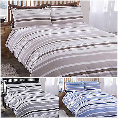 Geo Stripes Duvet Quilt Cover And Pillowcase Set Ticking Single Double King Size