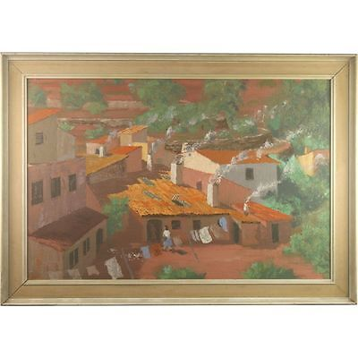 Large Framed Original Oil Painting Retro Townscape Landscape Signed Paterson