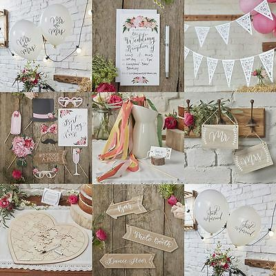 Ginger Ray Boho Floral Wedding Buntings Signs Stationery Guest Book