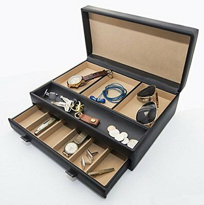 Stock Your Home Men's Dresser Top Valet Organizer Chocolate Brown Faux Leather