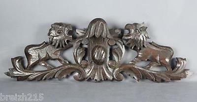 Antique  Carved Wood  Architectural Pediment   19th century